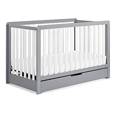 Carter's by DaVinci Colby 4-in-1 Convertible Crib with Trundle Drawer in Grey and White, Greenguard Gold Certified by DaVinci - DROPSHIP