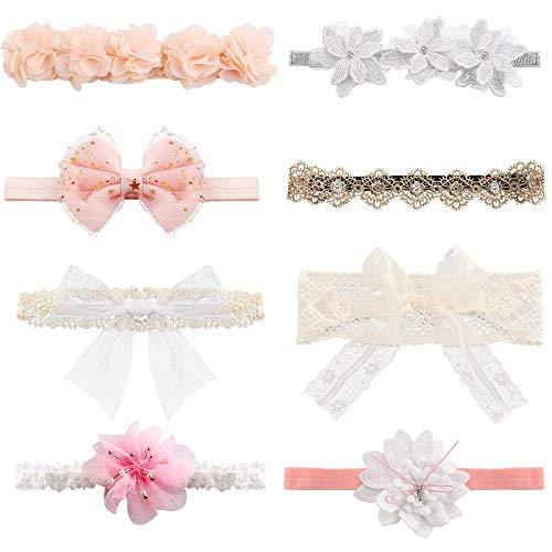 Milacolato 8 Stücke Baby Mädchen Stirnbänder Super Stretchy Stirnband und Bögen für Neugeborene Spitze Blütenblätter Blume Haarschmuck Baby Mädchen Geschenk