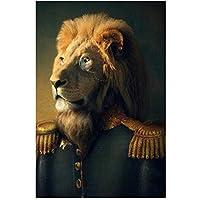 ライオンの一般的な古典芸術の絵画はキャンバスアートのポスターに印刷し、スーツにアインマルを印刷します北欧の壁の芸術写真50x70cmフレームなし