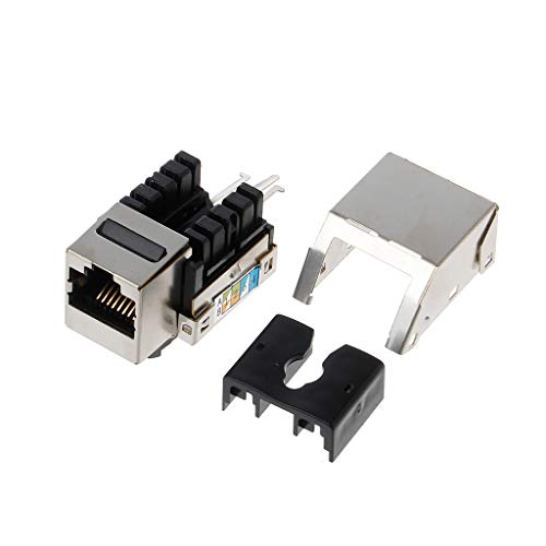 1 pieza RJ45 Keystone Cat6 blindado FTP aleación de cobre UTP módulo de red Keystone Jack Conector de red adaptador de información hembra Keystone Jack cable Ethernet