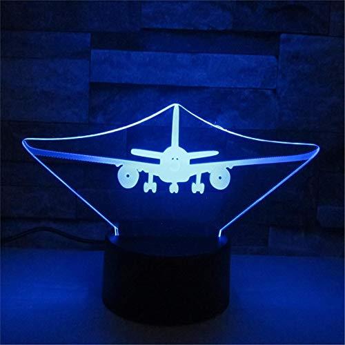 LBJZD luz de noche Avión De Aire Acrílico Lámpara 3D Toque Remoto Led 7 Cambio De Color Jet Usb Luz De Noche 3D Lámpara De Ambiente Doméstico Con Mando A Distancia