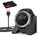 Garmin quatix 6 Multisport Marine Smartwatch, Gray with Blue Band (010-02158-90) and Charging Dock Bundle