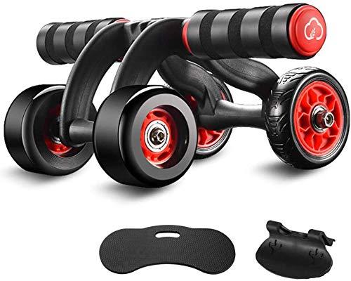 YUNMAI Bauchtrainer Bauchmuskeltrainer, 4 Räder AB Roller AB-Wheel Abdominal Bauchroller mit Bremse und Matte Bauchmuskelrad Fitness Sport Set Fitnessgerät für Zuhause für Herren und Damen