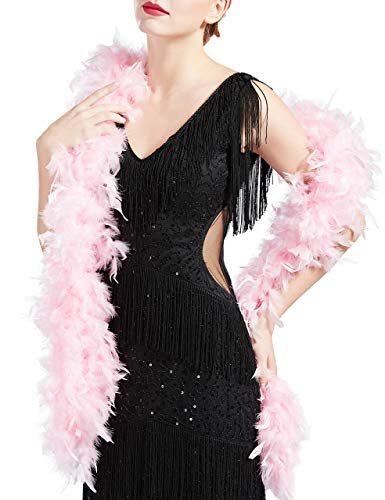 Coucoland 1920s Flapper Federboa Charleston Tanzen Flauschige Feder Boa für Halloween Party Gatsby Kostüm Zubehör Damen Fasching Karneval Accessoires 180 cm Lang (Pink)