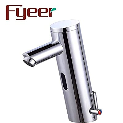 Fyeer Automatic Sensor Touchless Faucet, Motion Activated Hands-Free Bathroom Vessel Sink Tap, Lead Free Certified, Hot&Cold Mixer, Chrome Finish, Model FN0106A