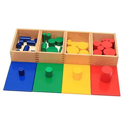 New Sky Enterprises Montessori Sensorial Material Knobless Cylinders Kids Wooden