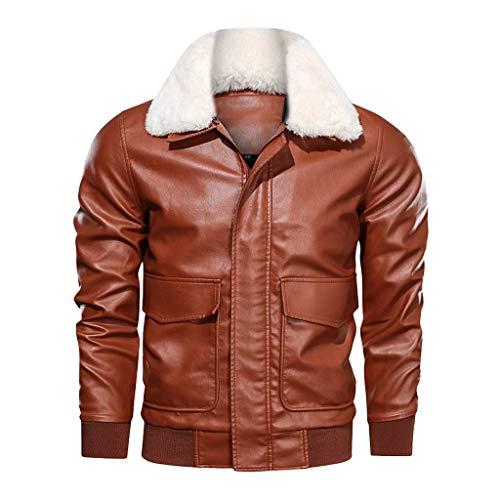 HEVÜY Herren Jacke Übergangsjacke Lederjacke Echtleder Kunstleder Baumwolle mit gesteppten Bereichen