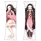 Demon Slayer Kimetsu no Yaiba Kamado Nezuko Japanese Hugging Fans Gift Throw Pillow Cover 59in x 19.6in Life Size Japanese Textile & Smooth Knit Zipper Body Pillow Case Soft Cover