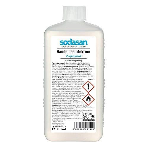 Sodasan Händedesinfektion Professional 500ml zum Einreiben in die Hände, Hautpflegend, Farbstofffrei Parfümfrei