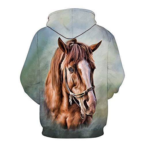 SLYZ Men's Sweater Horse Pattern 3D Printed Sweater Loose Long Sleeve Hoodie Men's Top