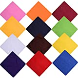 12 bandana cachemire, 100% cotone, multiuso grande sciarpa fazzoletto per donne, bandane per uomini, sciarpa per cani, 54 x 54 cm