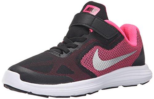 Nike Revolution 3, Scarpe da Ginnastica Bambino, Nero (Black/Metallic Silver/Hyper Pink/White), 32 EU