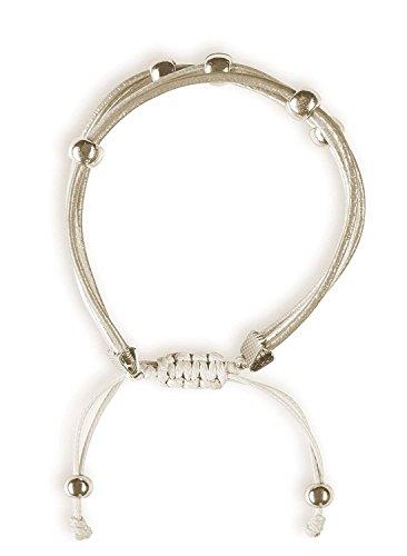 Preisvergleich Produktbild shape me Twisted Lederarmband in Wickeloptik / Trendiges Armband mit Silber farbigen Perlen im Hippie Boho Stil / Armschmuck