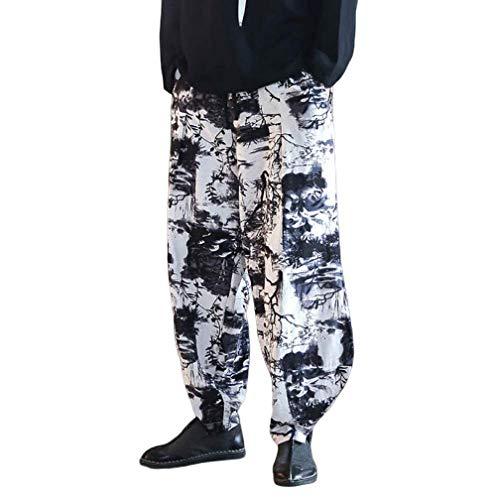 N/ A Sarouel pour Hommes Hommes Style Chinois Casual Pantalon de survêtement en Lin de Coton lâche Pantalon de Jogging Pantalon de Streetwear pour Homme Pantalon de Tai Chi