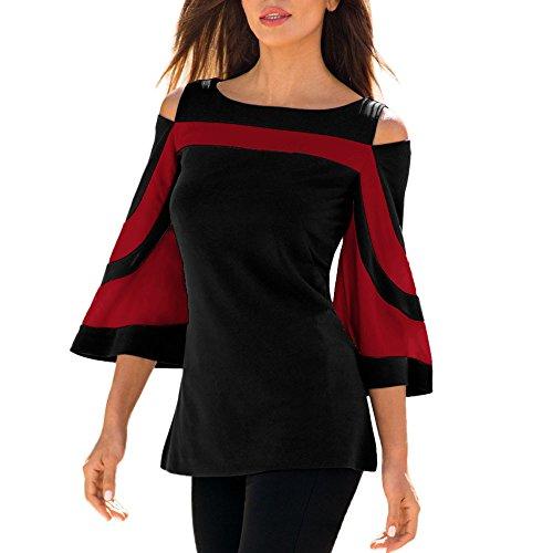 Separación!SHOBDW Las Mujeres de la Manera del Hombro frío Verano otoño de Manga Larga Sudadera con Capucha de Manga Corta suéter Blusa Camiseta (2XL, Largo-Rojo)