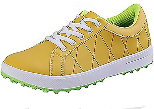 POSMA PGM XZ033 Women's Golf Shoes, Lightweight Waterproof Spikeless Golf Shoes for Ladies, Yellow, Size US 6.5 /UK 5.5 /EU 38