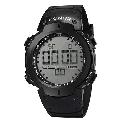 Cronómetro Reloj Digital LCD Zona horaria # 402 Hombres de la Moda Fecha de Goma del Reloj del Deporte a Prueba de Agua (Color : Negro)