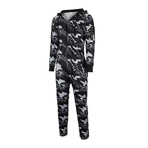 BUZHIDAO Herren Jumpsuit Schlafoveralls Reißverschluss Enge Elastische Pyjama Pullover Overall Nachtwäsche Herbst Und Winter Nähte Kapuze Pyjama