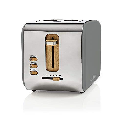 Nedis - Toaster - 2 breite Öffnungen - Soft-Touch - 6 verschiedenen Stufen - Auftau- und Aufwärmfunktion - Krümelschublade - Selbstabschaltung - Abbruch-Funktion - Soft-Touch-Oberfläche - 900 W - Grau