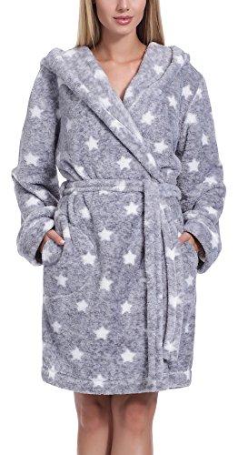 L&L Accappatoio Vestaglia Donna con Cappuccio Darcy Short (Melange/Bianco Stars, L)