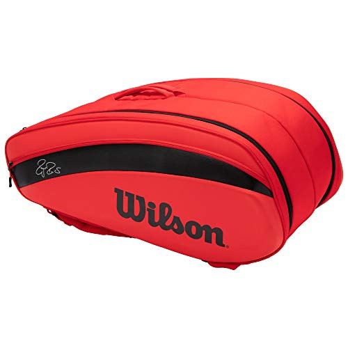 Wilson(ウイルソン) テニス バドミントン ラケットバッグ FEDERER DNA 12PK (フェデラー DNA 12パック) WR8006001001 RED ラケット12本収納可能 ウィルソン