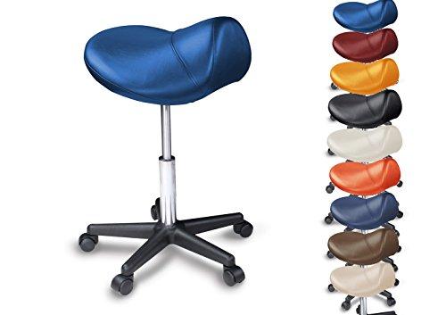 Promafit Sattelhocker/Sattelstuhl mit PU Rollen für alle Böden - ergonomisch - stufenlos höhenverstellbar - viele Farben - 360° drehbar - Arbeitshocker - Praxishocker - Kein Werkzeug notwendig Blau