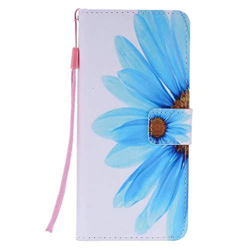 Miagon PU Cuir Coque pour iPhone XS Max,Coloré Motif Portefeuille Étui Housse Cover avec Stand Support Porte-Cartes de Crédit,Bleu Fleur