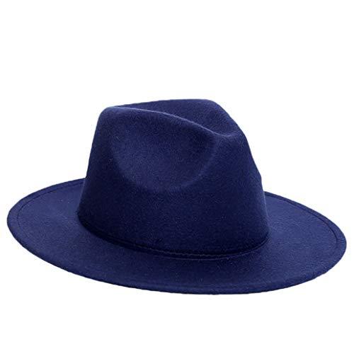 Wool Women's Hats Classical Gentleman Wide Brim Felt Wool Fedora Hats for Top Jazz Cap Dark Blue