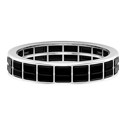 Anillos de banda de eternidad de diamantes negros creados en CT de 2,25 CT para mujer (calidad AAAA), 14K Oro blanco, Diamante negro creado en laboratorio, Size:EU 63