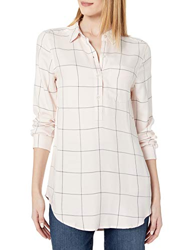 Amazon Brand - Daily Ritual Women's Soft Rayon Slub Twill Long-Sleeve Popover Tunic, Pink Shadow Windowpane , Large