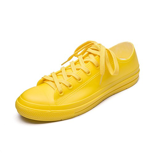 DKSUKO Women's Rain Boots Waterproof High Top Rain Shoes with Lace Up Anti-Slip Garden Shoes (8 B(M) US, Yellow Short)