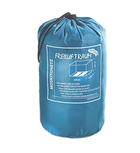 FREILUFTRAUM XXL Moskitonetz für Doppelbett weiß ohne Öffnung I Mückennetz Reise Insektenschutz 200x220x200cm