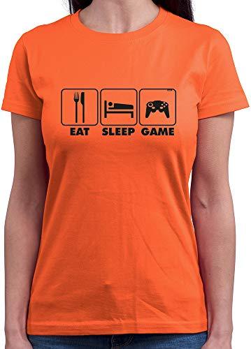 HARIZ T-shirt à col rond pour femme Eat Sleep Game Gamer Gaming Plus Carte cadeau - Orange - Large