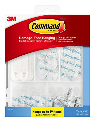Command Clear Variety Kit, Hooks and Strips to Hang Up to 19 Items, Organize Damage-Free