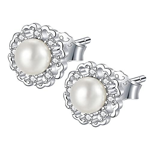 JENDEAR Pendientes Perlas Mujer Pendientes Corazón Plata de Ley 925 con 5A Circonita Cúbica Hipoalergénica