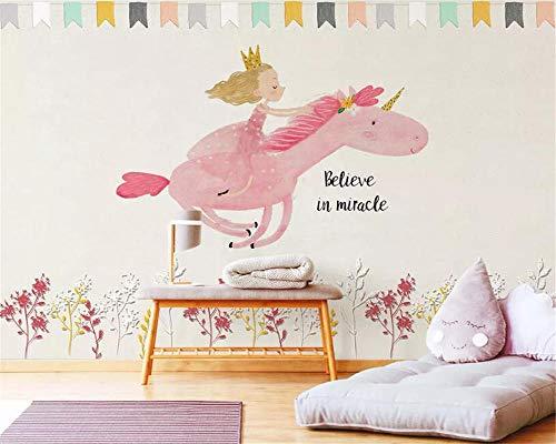 XLXBH 3D-muurschildering zelf-hechtend behang warm lief behang prinsessen-eenhoornkinderkamer-achtergrond 3D-fotobehang, kinderkamer, kantoor, eetkamer, woonkamer, decoratieve muur kunst 350x256 cm (BxH) 7 Streifen - selbstklebend