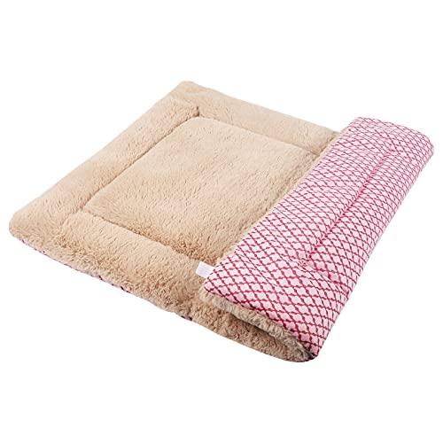 Vejaoo Hundematte Weiche und warme Matte Liegedecke für Hunde und Katzen Sofa für Heimtiere XZ014 (S(58 * 40CM), Short Plush Pink)