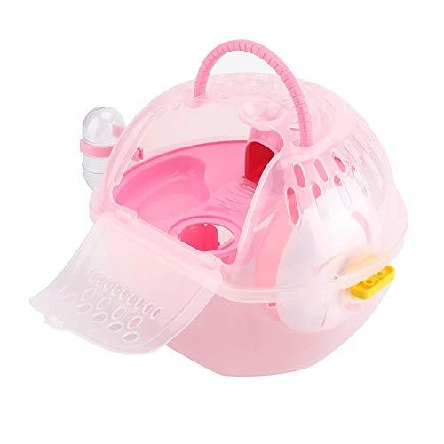 TMISHION Jaula de hámster, Deluxe Portable Mouse de plástico Transparente Casa Accesorios Completamente equipados Jaula de hábitat Hamster(Rosa)
