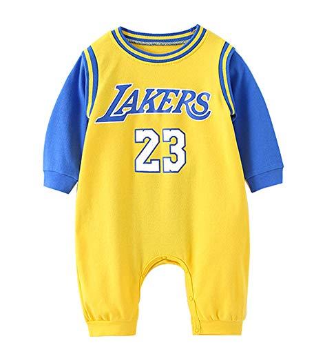 Baby Trikot Lakers James # 23 Langarm Basketball Trikot, Stuff Bodysuit (Strampler) Fan Baby Sui Set0-15 Monate-yellow-73(cm)