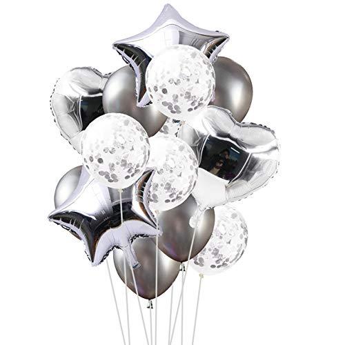 Yalulu 14 Stück Konfetti Luftballons Folienballon Herz Star Ballon Luftballons Latex Helium Pailletten Ballon Für Geburtstagsfeier Hochzeit Party Valentinstag Dekorationen (Silber)