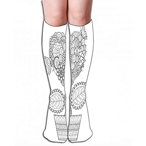 lucies Frauen Sport Hohe Strümpfe Neuheit Crew Socken 50 cm (19,7 ') Blumen Herzform Topf Linie Linie Kunst Design Malbuch Erwachsenen Grafikkarten