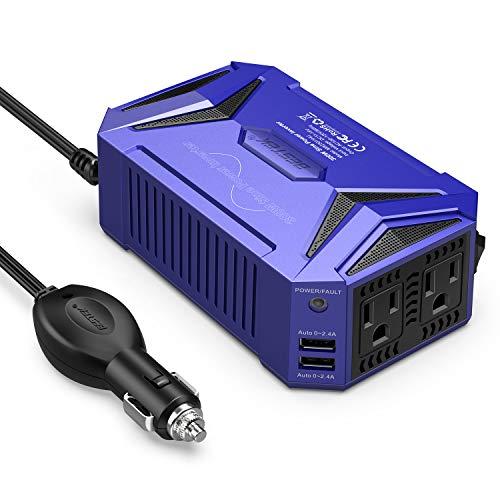 BESTEK 300Watt Pure Sine Wave Power Inverter Car Adapter DC 12V to AC 110V with 4.2A Dual Smart USB Ports (Blue)