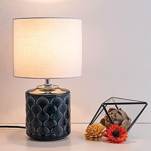 Pauleen 48021 sobremesa Glowing Midnight máx. 20W E14 Lámpara para mesita de Noche Azul y Blanco cerámica/Tela sin Bombilla