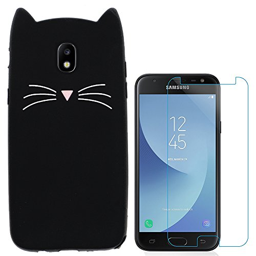 Hcheg 3D Silicone Protective Case Cover for Samsung Galaxy J3 2017 Cover cat Design Black Case Cover + 1X Screen Protector