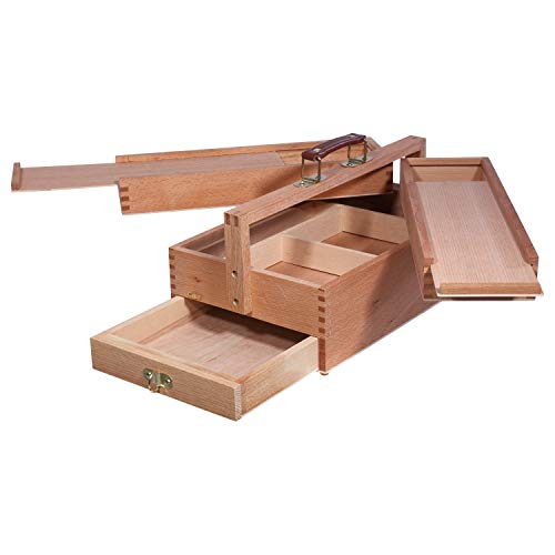 Artina - Maletín de Pintura VANNES - Caja maletín de Utensilios de Madera - para Artistas - con 4 cajones