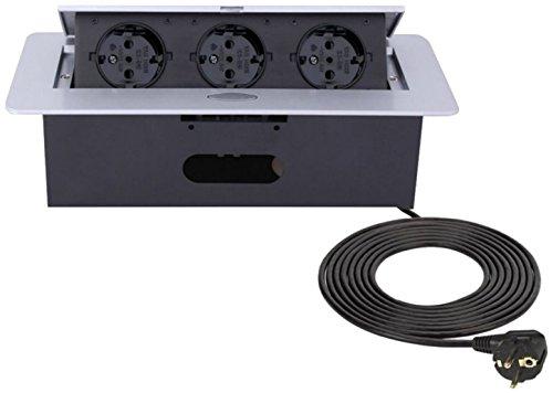 Inschuifbaar inbouwstopcontact 3-voudig - aluminium spuitgietwerk - met soft-opening - klaar voor aansluiting met 3 m netsnoer.