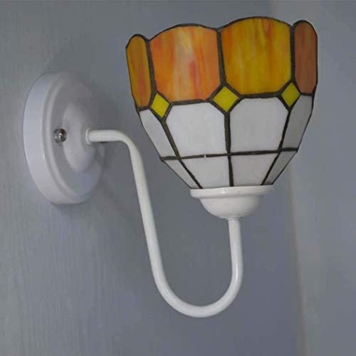 QIULAO Lampade da Parete Stile Tiffany, lampade romantiche for corridoio in Vetro colorato mediterraneo con paralumi, for Lampada da Soggiorno/corridoio E27 25W (Senza Sorgente Luminosa)