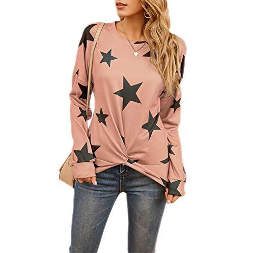 Camiseta con Personalidad Irregular De Manga Larga con Estampado De Estrellas De Primavera Camiseta con Cuello Redondo para Mujer