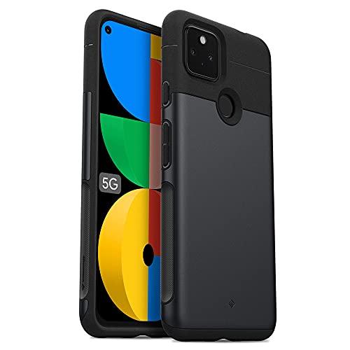 Caseology Google Pixel 5a 5G ケース 耐久性 サンドストーン TPU PC カバー 二重構造 指紋防止 薄型 軽量 滑り止め リージョン - ストーンブラック
