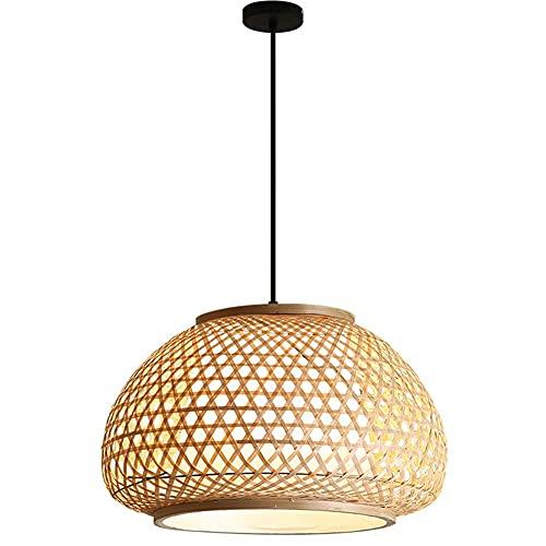 CAIMEI Lámpara Colgante de Bambú Natural Candelabro Trenzado a Mano Linternas Luz Colgante E27 Pergamino Madera Arte Pantalla Porche Mesa de Comedor Café Cocina Lámpara de Techo